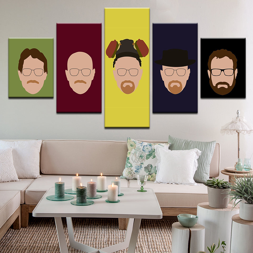 Breaking Bad Walter White 5 Panel Canvas Print Wall Art