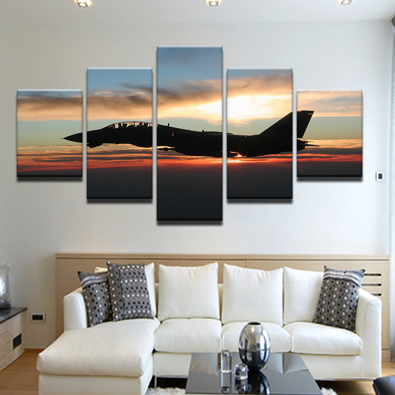 F-14 Tomcat Sunrise Silhouette 5 Panel Canvas Print Wall Art