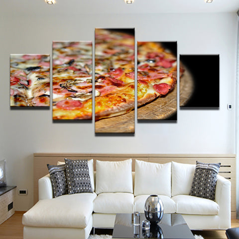 Pizza Shop Restaurant 5 Panel Canvas Print Wall Art