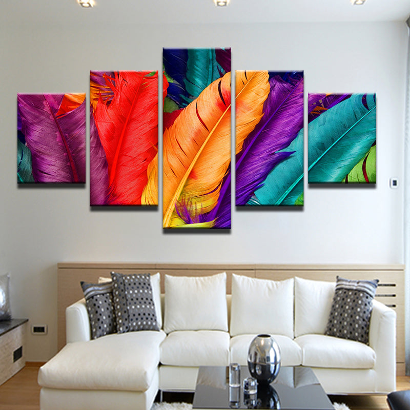 Colorful Rainbow Feathers 5 Panel Canvas Print Wall Art