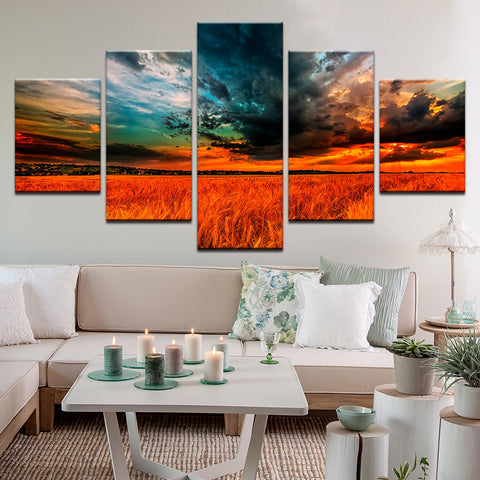 Wheat Field Sunset 5 Panel Canvas Print Wall Art