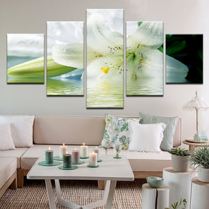 White Lily 5 Panel Canvas Print Wall Art