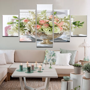 Roses In Silver Bowl 5 Panel Canvas Print Wall Art