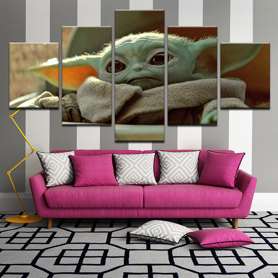 Baby Yoda The Child Mandalorian Star Wars 5 Panel Canvas Print Wall Art