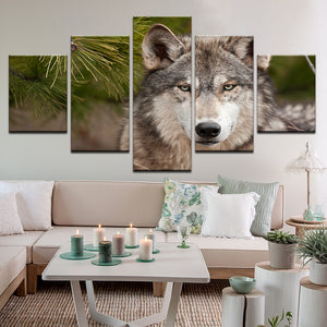 Wolf 5 Panel Canvas Print Wall Art