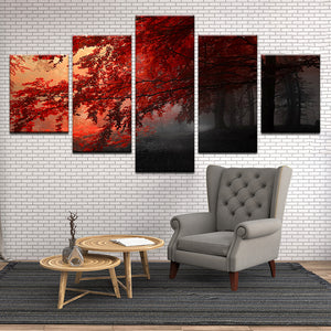 Red Maple At Sunrise 5 Panel Canvas Print Wall Art