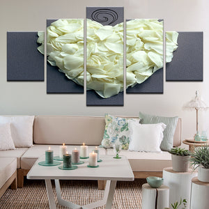 White Rose Petal Heart 5 Panel Canvas Print Wall Art
