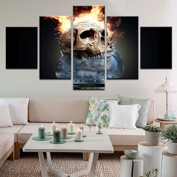 Boiling Flame Skull 5 Panel Canvas Print Wall Art