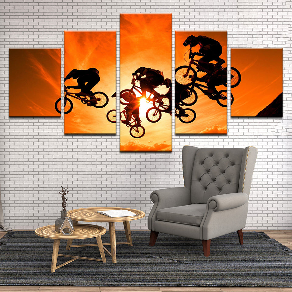 BMX Bike Racing 5 Panel Canvas Print Wall Art