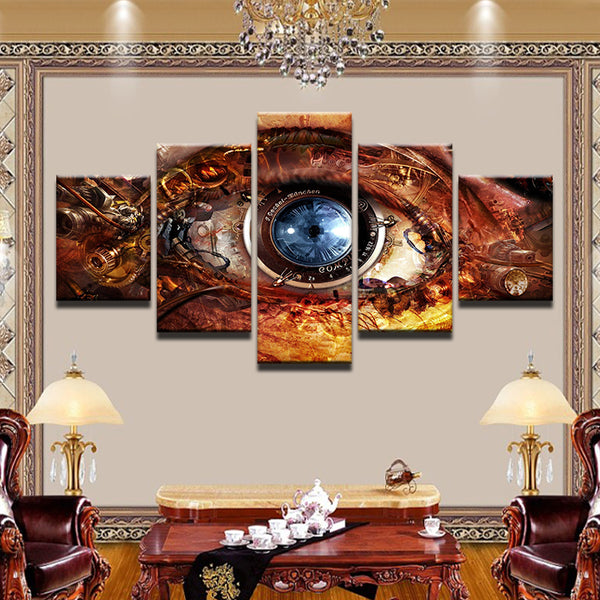 Steampunk Camera Lens Eye 5 Panel Canvas Print Wall Art
