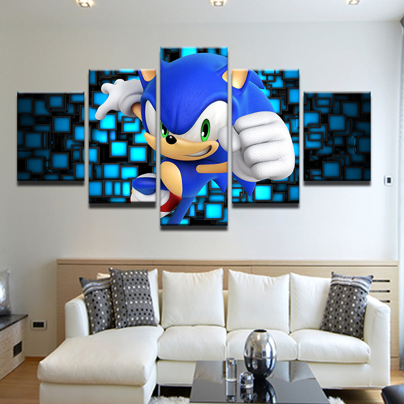 Sonic The Hedgehog 5 Panel Canvas Print Wall Art