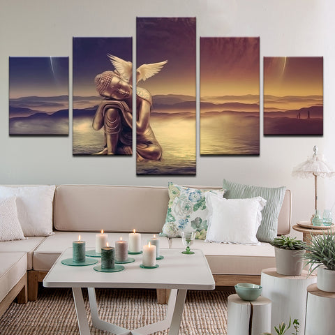 Buddha With Dove On Mountain Top 5 Panel Canvas Print Wall Art
