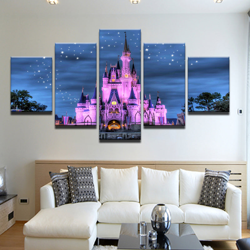 .Cinderella Castle Disney World Magic Kingdom 5 Panel Canvas Print Wall Art