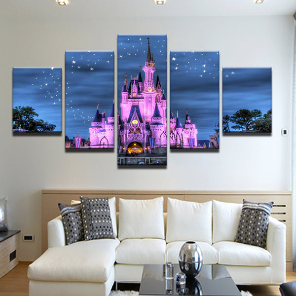 Cinderella Castle Disney World Magic Kingdom 5 Panel Canvas Print Wall Art