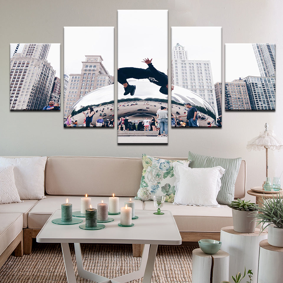 The Bean Chicago Illinois 5 Panel Canvas Print Wall Art