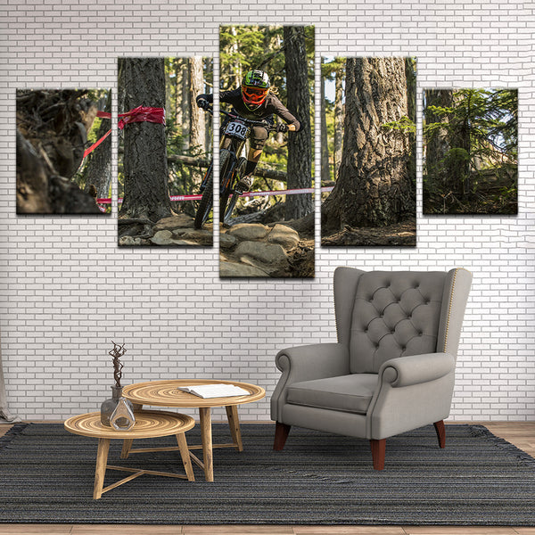 Downhill Mountain Bike Racing 5 Panel Canvas Print Wall Art