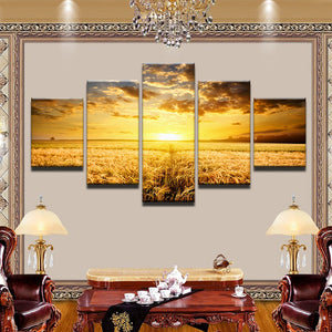 Golden Wheat Field 5 Panel Canvas Print Wall Art