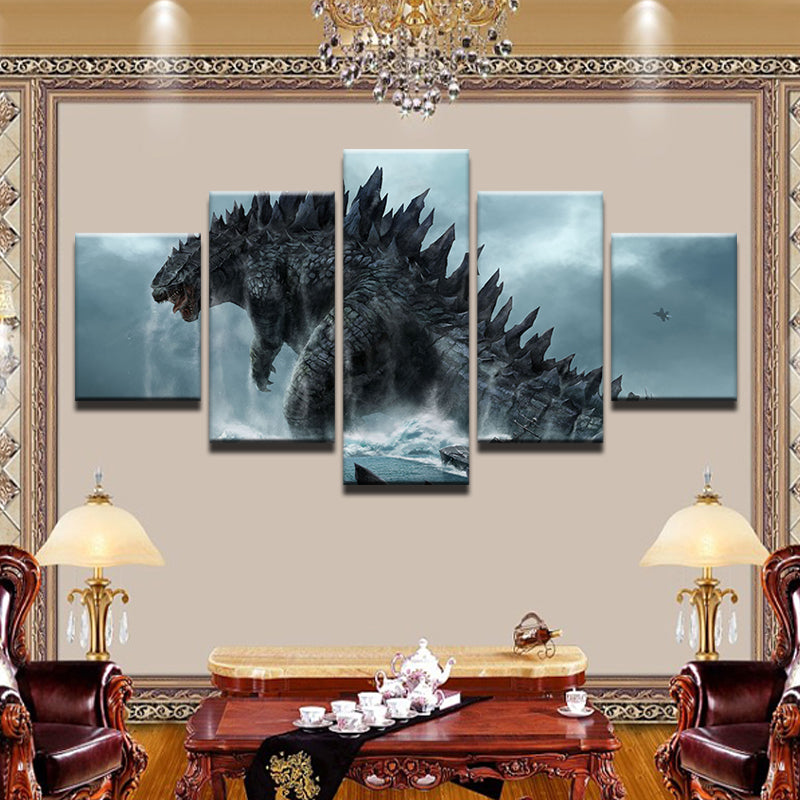 Godzilla 5 Panel Canvas Print Wall Art