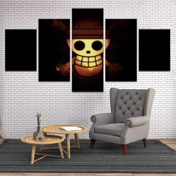One Piece Skull 5 Panel Canvas Print Wall Art