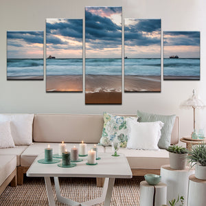 Windy Day At The Beach Cargo Ships 5 Panel Canvas Print Wall Art