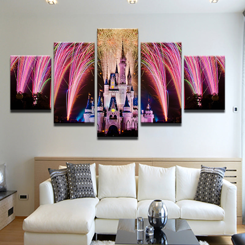 Disney World Castle Fireworks 5 Panel Canvas Print Wall Art