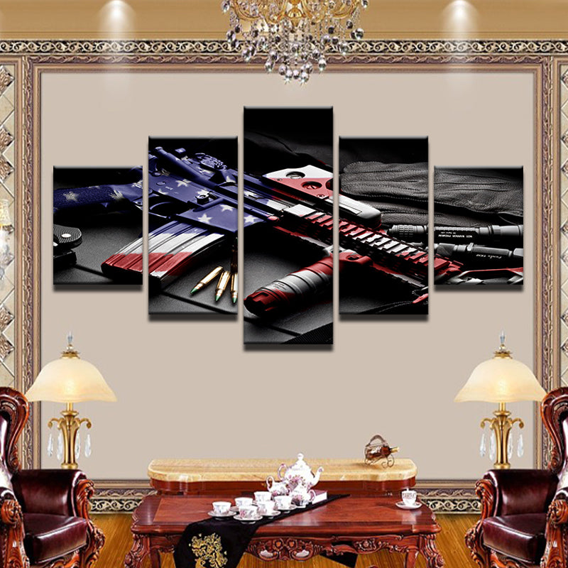AR-15 Red White & Blue 5 Panel Canvas Print Wall Art