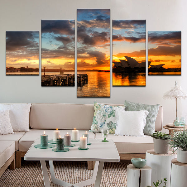 Sydney Harbor Opera House At Sunset 5 Panel Canvas Print Wall Art