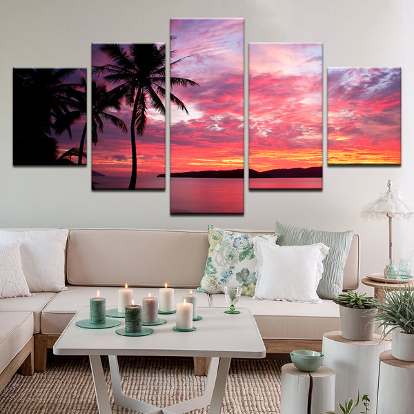 Hawaii Sunset 5 Panel Canvas Print Wall Art