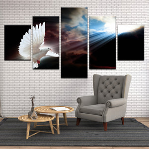 Heavenly Dove 5 Panel Canvas Print Wall Art