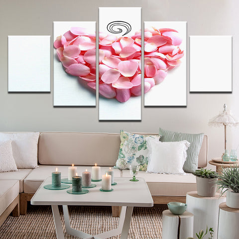 Pink Rose Petal Heart 5 Panel Canvas Print Wall Art