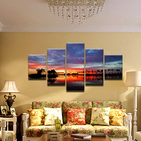 Palm Tree Sunset 5 Panel Canvas Print Wall Art
