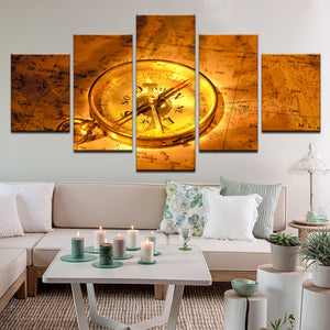 Antique Compass And Map Of France 5 Panel Canvas Print Wall Art