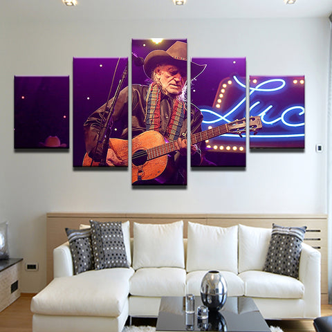 .Willie Nelson 5 Panel Canvas Print Wall Art
