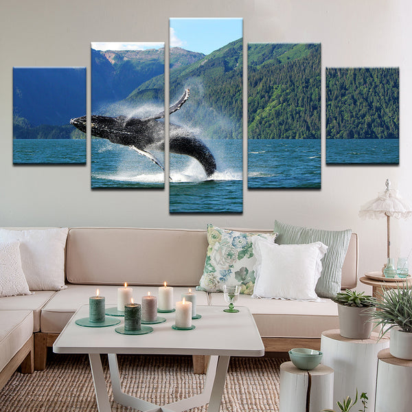 Humpback Whale Breeching 5 Panel Canvas Print Wall Art