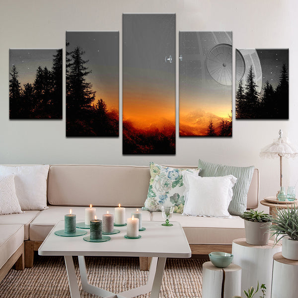 Star Wars Death Star 5 Panel Canvas Print Wall Art