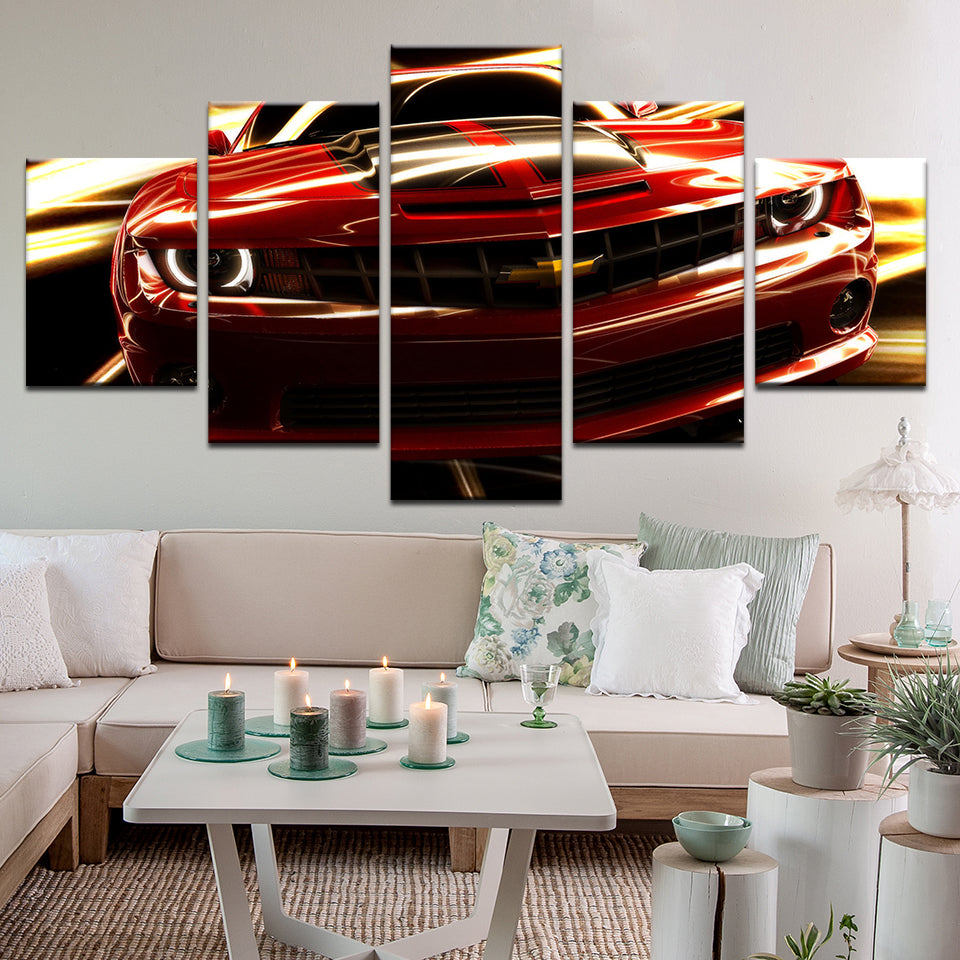 Chevy Chevrolet Camaro 5 Panel Canvas Print Wall Art
