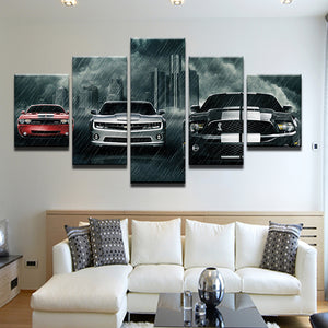 American Muscle Cars 5 Panel Canvas Print Wall Art