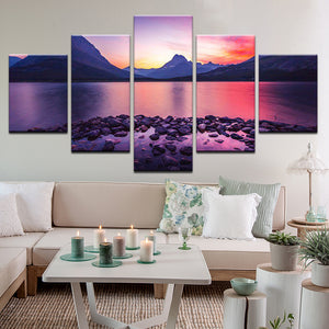 Glacier National Park Sunset 5 Panel Canvas Print Wall Art