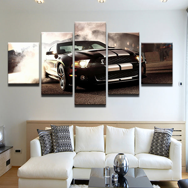 Ford Mustang Cobra Burnout 5 Panel Canvas Print Wall Art