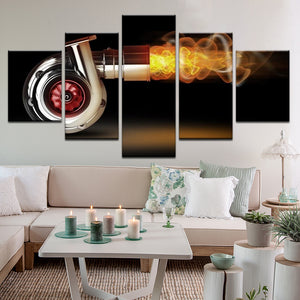 Turbocharger Spitting Flames 5 Panel Canvas Print Wall Art