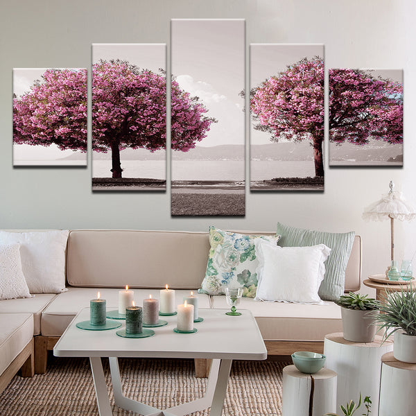 Cherry Trees On Inlet 5 Panel Canvas Print Wall Art