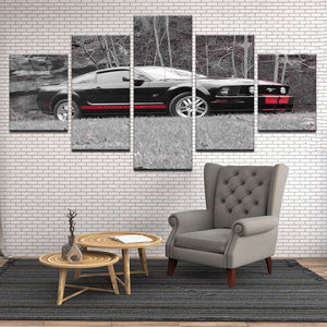 Ford Mustang GT 5 Panel Canvas Print Wall Art