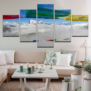Prayer Flags Himalayas Nepal 5 Panel Canvas Print Wall Art