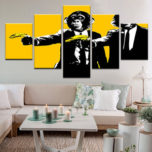 Banksy Chimp Pulp Fiction 5 Panel Canvas Print Wall Art
