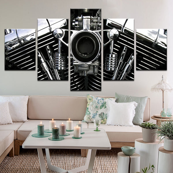 Harley Davidson V-Twin 5 Panel Canvas Print Wall Art