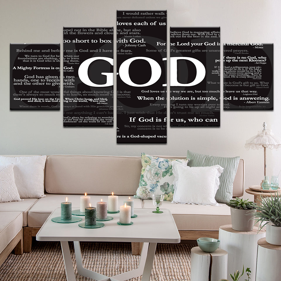 God Quotes Collection 5 Panel Canvas Print Wall Art