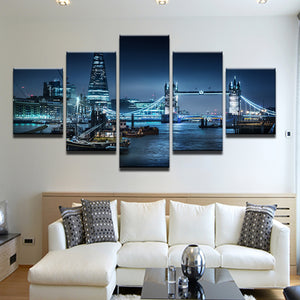 Tugboats On The Thames London England 5 Panel Canvas Print Wall Art