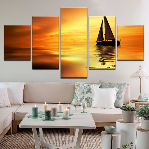 Sailing Into The Sunset 5 Panel Canvas Print Wall Art