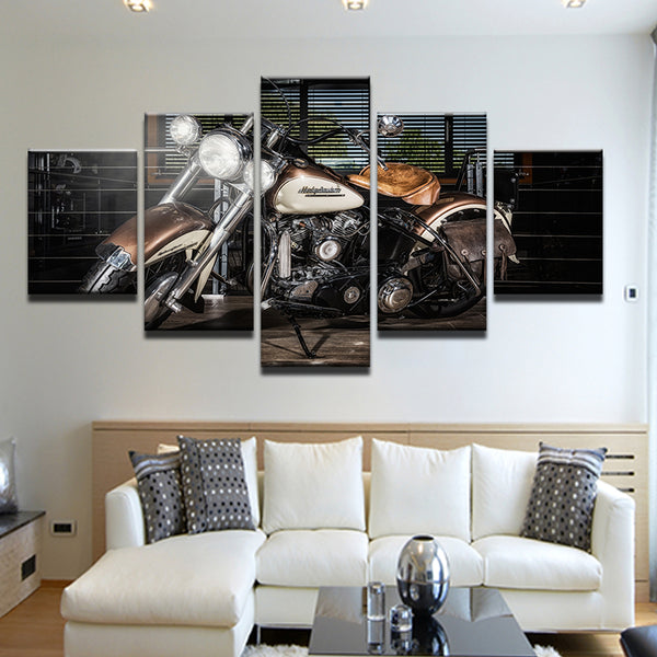 Harley Davidson Vintage Motorcycle 5 Panel Canvas Print Wall Art