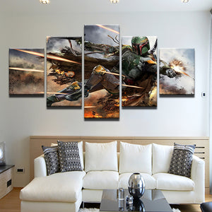 Star Wars Boba Fett 5 Panel Canvas Print Wall Art